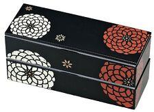 HAKOYA Lunch Bento Box 50463 Slim Black Hyakka Momoka Flower MADE IN JAPAN