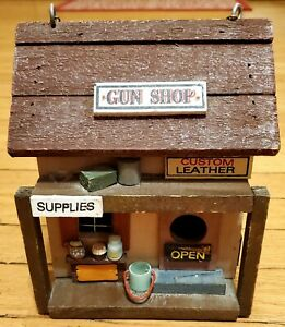Wooden Gun Shop Hanging Birdhouse Vintage General Store Outdoor For Small Birds