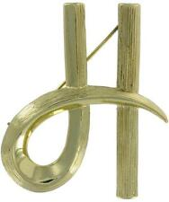 """Vintage Gold Tone Initial """"H"""" Pin Brooch"""