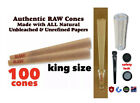 Внешний вид - Raw King Size classic pre Rolled Cone (100 Pack)+GLASS TIP & safety lock tube