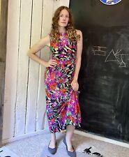 Vintage 70s Black Bright Poppy Garden Floral Maxi Dress by Checkaberry size S/M