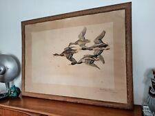 Superbe immense estampe gravure lithographie Léon Danchin chasse canard signée