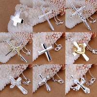 Women Men 925 Sterling Silver Plated Cross Crystal Pendant Crucifix Jewelry Gift