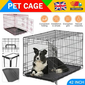 Dog Cage Pet Puppy Metal Training Crate Foldable Carrier Black - S M L XL XXL