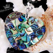 Natural Heart Abalone Mother Of Pearl MOP Shell Bead Pendant Gift
