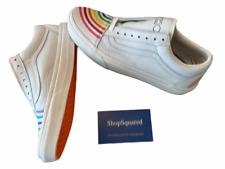 Vans x Flour Shop (Old Skool) White Rainbow Womens Size 8.5 Pride Shoes NIB 🌈
