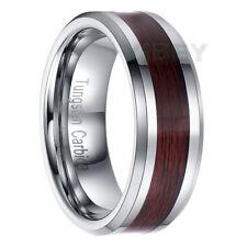 Men's jewelry Tungsten Carbide ring Brown Wood Inlay Beveled edge Wedding Band