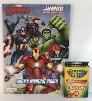 Marvel Avengers Jumbo Coloring & Activity Book Mazes Puzzles + 24 Crayons Boys