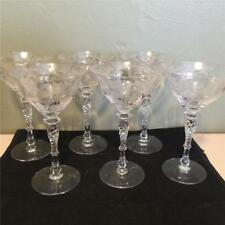 6 VINTAGE OPTIC CHAMPAGNE GLASSES- TWISTED STEM - NOUVEAU STYLE ETCH - GORGEOUS!