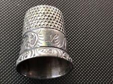 "Vintage Decorative Sterling Silver Thimble 3/4"" Tall w/Initials ""LN"" (BB)"