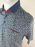 Mens Ted Baker Leaf Floral Trarnce Polo Shirt Feather Blue 4 Large 42 Chest