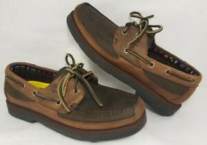 Men's Timberland 71024 Brown Moc Toe Leather Slip On Boat Shoes - Size 7 M