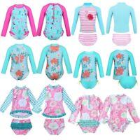 Kid Girls Long Sleeves Tankini Printed Swimsuit Swimwear Rash Guard Bathing Suit