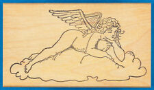 Nude Angel Rubber Stamp - Woman with Wings on Cloud Looking Down from Heaven