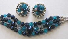 Vintage Jewelry SCHIAPARELLI Bracelet Earrings Blue Faceted Beads Silvertone