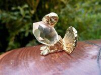 wunderschöne Kristall Miniatur Figur Auerhahn 2,5cm Glaskugel Metall goldfarbend
