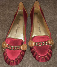 Juicy Couture Red Satin Leather Flat Ballerina Shoes Loafers Size Uk4/37