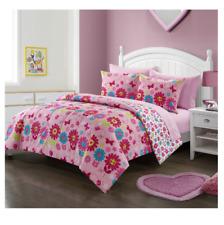 New Girl's Pink Floral Full Size Comforter Set Bedding Bedspread Kid's Sheets