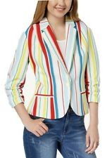 NWT XOXO Juniors' Ruched Sleeve Beach Stripe Jacket Coat Blazer M