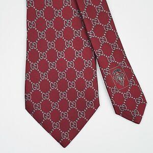 GUCCI TIE GG Guccissima in Red Classic Woven Silk Necktie