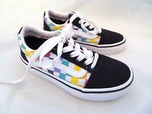 rainbow checkerboard vans girls