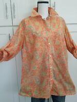 Ralph Lauren Paisley Shirt Top Button Down 100%Cotton Long Sleeve Roll Up Sz 1X
