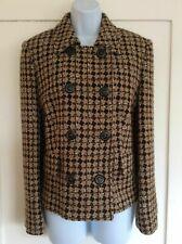 M&S Brown Woven Wool Tweed Houndstooth Diamond Jacket Coat Smart Retro