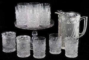 EAPG 1895 FESTOON PATTERN GLASS WATER SET SPOONER CAKE PEDESTAL PLATE TUMBLERS