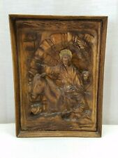 Vintage Antique Wood Hand Carved Relief Palm Sunday Donkey Folk Art Jerusalem