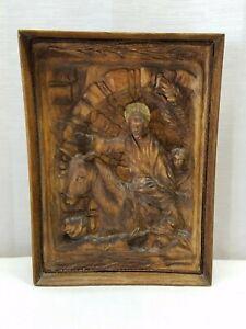 """Vintage Antique Wood Hand Carved Relief Palm Sunday Jesus Folk Art Jerusalem 11"""""""