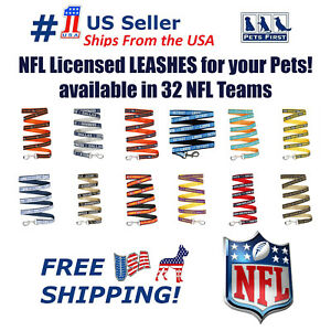 NFL Leash for Dogs & Cats, Heavy-Duty, Licensed. 32 Football Teams, 3 sizes. NEW