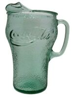 Vintage Original Green Glass Coca-Cola Coke Pitcher 8.5 Inches Tall