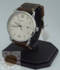 Mens's Fossil Watch, Commuter Dark Brown Leather Strap Watch FS5275, New