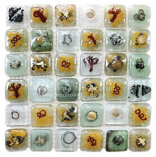 """Vintage Champagne"" Fused Glass Eco Mosaic Tiles Sheets Borders  Hand-Made"