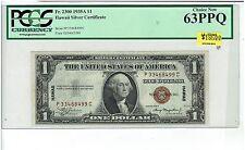 1935A HAWAII SILVER CERTIFICATE $1. Fr. 2300. PCGS NEW 63PPQ! P-C BLOCK