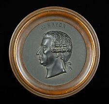 Médaillon Franz Joseph Haydn compositeur composer medal XIX 16cm cadre en noyer
