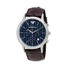 ARMANI MENS CHRONOGRAPH WATCH AR2494 DARK BLUE DIAL BROWN LEATHER STRAP RRP £259