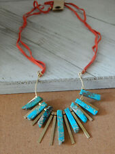 NECKLACE TURQUOISE RAYS ANTHROPOLOGIE SUEDE RIBBON LONG NWT HARD TO FIND $58