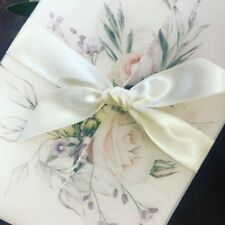 1 'Floral-Eleanor' Vellum Wrap Ribbon Wedding Invitation/RSVP/wish card SAMPLE