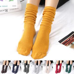 Womens Elastic Cotton Slouch Socks Ladies Winter Autumn Warm Solid Color Socks