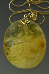 White Butterscotch Egg Yolk Genuine BALTIC AMBER Silver Gold Plated Pendant 5.2g