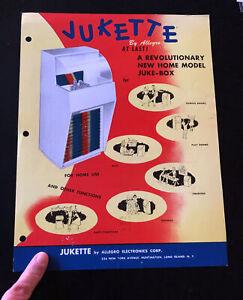 Original 1954 JUKETTE ALLEGRO JukeBox Advertising print ad With Prices