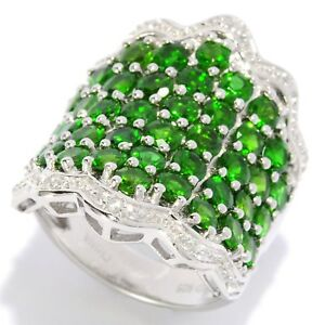 Sterling Silver 6.5ctw Chrome Diopside & White Zircon Wavy Band Ring, Size 7