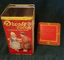 Drostes Cocoa Haarlem Holland One Pound Tin Advertising 1920's Embossed Lid