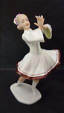 """Vintage Wallendorf German Porcelain Figurine NATIVE GERMAN DIRNDL Dancer 8"""" MINT"""