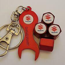 SUZUKI Wheel Valve Dust caps Alloy Spanner Keychain RED