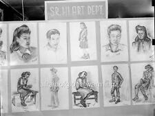 Photo. WW2. Granada Japanese Relocation Center. Charcoal Drawings By Students