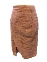 Elie Tahari Womens Pink Twill Knit Back Zip Knee Length Pencil Skirt Sz 8