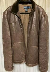 Polo Ralph Lauren Lamb Leather Jacket Coat Quilting Men's Size XL From Japan