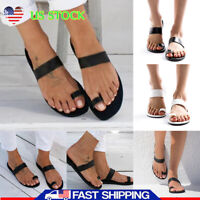 Women Flat Slingback Sandals Ladies Open Toe Strap Casual Beach Shoes Size 5-8.5